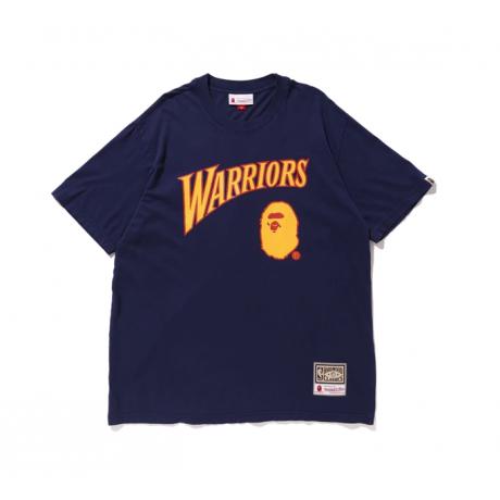 BAPE x Mitchell & Ness Warriors Tee Navy